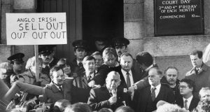 Ian Paisley at a Hillsborough agreement protest yesterday in 1985. Photograph: Dermot O'Shea / THE IRISH TIMES