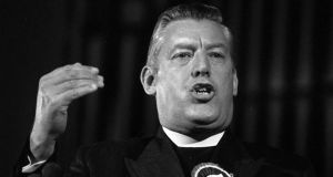 File photo from 1974 of former Democratic Unionist Party leader Dr Ian Paisley, who has died. Photograph: PA Wire