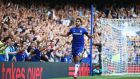 Chelsea striker Diego Costa celebrates his hat-trick goal in the Premier League game against Swansea at Stamford Bridge. Photograph:  Paul Gilham/Getty Images