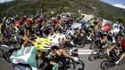 Cyclists in action during the 20th stage of the  Vuelta a Espana between Santo Estevo de Ribas de Sil and the Port of Ancares Salvaterra in Galicia. Photograph: Javier Lizon/EPA