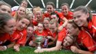 Members of the Cork Senior Camogie team celebrate victory over Kilkenny in the All-Ireland Senior Camogie Final in Croke Park. Photograph: Alan Betson/ The Irish Times