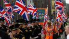 Members of the Orange Order march in Edinburgh on Saturday. Photograph: Reuters/Russell Cheyne