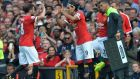 Radamel Falcao (centre) replaces Juan Mata  to make his his Man Utd debut against QPR. Photograph: Peter Powell/EPA