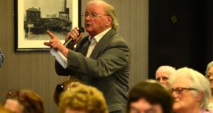 Tom Hartnett from Co Cork making his point at an Age Action Q&A forum at the Aisling Hotel in Dublin today. Photograph: Cyril Byrne/The Irish Times
