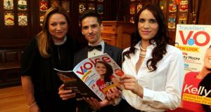 At the launch of Travellers' Voice magazine at the Mansion House, Dublin were businesswoman and Dragons' Den mentor Norah Casey (left) with the magazine's editor Michael Power and Tracie Joyce, regional reporter on the publication. Photograph: Nick Bradshaw