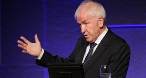 Minister of State for the Diaspora Jimmy Deenihan TD speaking at 'Home is Where the Heart Is' conference on return migration from a youth perspective organised by the National Youth Council of Ireland at Dublin Castle today. Photograph: Marc O'Sullivan