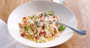 Simple tomato and basil risotto