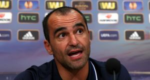 Everton manager Roberto Martinez speaks to the media during a pre-match  press conference at Finch Farm ahead of the Europa LEague tie with Wolfsburg at Goodison Park.. Photograph:  Chris Brunskill/Getty Images