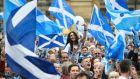 Campaigners wave Scottish Saltires at a Yes campaign rally in Glasgow ahead of Thursday's vote. Photograph: Dylan Martinez/Reuters