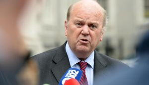 The Minister for Finance Michael Noonan responding to the publication of the latest Quarterly National Accounts, at Government Buildings today. Photograph: Eric Luke / The Irish Times
