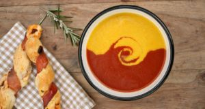 Catherine Fulvio's roasted yellow pepper and tomato soup. Photograph: Joanne Murphy. Taken from Catherine Fulvio's cookbook Family Kitchen (Gill & MacMillan)