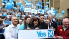 Yes supporters during a Yes campaign rally outside the Glasgow Concert Hall ahead of the Scottish independence referendum that takes place today. Photograph: Lynne Cameron/PA Wire