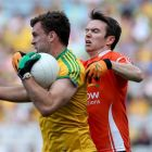 Donegal's Eamon McGee gets ahead of  Tony Kernan of Armagh during the All-Ireland football quarter-final at Croke Park. Photograph: Donall Farmer/Inpho