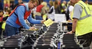 Ballots are brought into the Royal Highland Centre during the Scottish referendum in Edinburgh. Photograph: Andy Rain/EPA