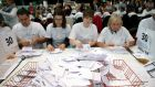 Ballots are counted at the Aberdeen Exhibition and Conference Centre during the Scottish referendum. Photograph: EPA/ROBERT PERRY