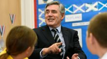 Gordon Brown speaking to scoolchildren in Fife on Friday. The re-energised former prime minister played a key role in the final days of the No campaign. Photograph: Garry McHarg/Reuters