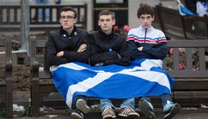Dejected Yes supporters in Glasgow yesterday. Photograph: Robert Perry