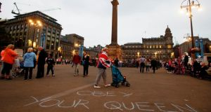 A slogan written by Unionists in George Square, Glasgow, yesterday. Photograph: Danny Lawson/PA Wire