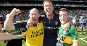 Alan O'Sullivan, manager Jack O'Connor and Brian Rayel after the All-Ireland minor football final victory over Donegal at Croke park. Photograph: Morgan Treacy/Inpho