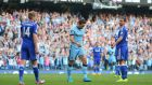 Manchester City's Frank Lampard walks away without celebrating after scoring the equalising goal in the Premier League game against his old side Chelsea at the   Etihad Stadium. Photograph:   Dave Thompson/PA