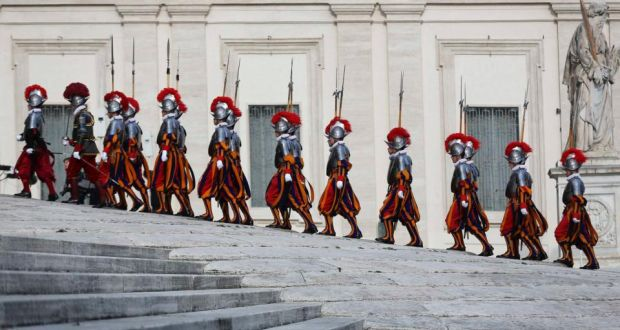 Swiss Guards at the Vatican. An Extraordinary Synod of Bishops begins in Rome on October 5th.