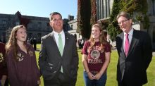 The mayor of Boston, Marty Walsh, visited NUI Galway  where he met  college president  Dr Jim Browne   (right) and a group of Boston College Study Abroad students, including Morgan McDonald (left) and Amanda Beusse. Photograph: Joe O'Shaughnessy