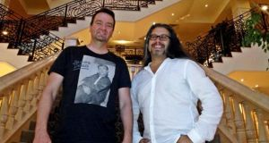 Adrian Carmack (left) with John Romero at the five star Heritage Golf & Spa resort in Killenard, Co Laois.