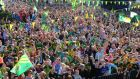 Huge crowds turned out at Rathmore railway station to welcome home the victorious Kerry senior and minor football teams yesterday evening. Photograph: Eamonn Keogh