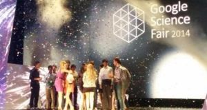 Winners are seen on stage at the Google Science Fair last night. Photograph: Google