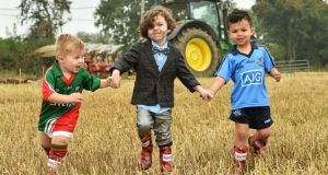 In attendance at the launch of SuperValu's 'All Star' line up for the National Ploughing Championships are, from left, 'Mini Aidan O'Shea' - Noah Lynch, age 2, 'Mini Paul Galvin' - Rocco Kelly, age 4, and 'Mini Bernard Brogan' - Harley Smith, age 4. Photograph: Matt Browne / Sportsfile