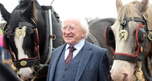 "President Michael D Higgins with ""Bud and Michael"" during the Horse Ploughing Competition at the National Ploughing Championships at Ratheniska, Co Laois, today. Photograph: Eric Luke/The Irish Times"