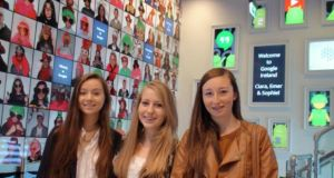 From left:  Sophie Healy-Thow, Emer Hickey and Ciara Judge who have won a global science research competition at the Google Science Fair 2014 in San Francisco.