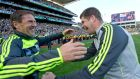 Kerry manager Eamonn Fitzmaurice celebrates with minor manager Jack O'Connor following victory over Donegal on Sunday. Photograph: Morgan Treacy/Inpho