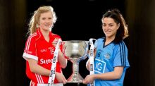 Cork and Dublin captains, Roisin Phelan and Sinead Goldrick at Croke Park yesterday to promote the Women's All-Ireland Senior Football final. Photograph: Morgan Treacy/Inpho.