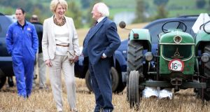 President Michael D Higgins and his wife Sabina Higgins at  the National Ploughing Championships at Ratheniska , Co Laois. Photograph: Eric Luke/The Irish Times