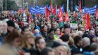 Thousands attend an anti-austerity protest at Merrion Square in Dublin: fading memories of the crisis will make it politically difficult to sustain fiscal discipline to cut national debt. Photograph: Dara Mac Dónaill