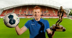 Limerick FC striker  Rory Gaffney with his SSE Airtricity/SWAI Player of the Month Award for August at Thomond Park, Limerick. Photo:  Diarmuid Greene/Sportsfile