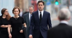 Labour leader Ed Miliband and his wife Justine Thornton arrive at Salford Cathedral for the funeral of Labour MP Jim Dobbin on September 20th. The party had already selected its candidate to contest Dobbin's Heywood and Middleton seat. Photograph: Oli Scarff/Getty Images