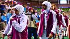 Qatar's  basketball team leaves the court after forfeiting their women's basketball game against Mongolia. Photograph: Kim Kyung-Min/Sports Chosun/Reuters