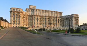 The former Casa Poporului, the second largest building in the world, and once Ceausescu's palace, is now home to the Romanian parliament