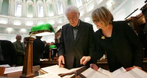 Donation: the late Seamus Heaney and his wife, Marie, at the National Library of Ireland in 2011, when he gave his archive to the institution. Bryan O'Brien