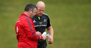 Munster  coach Anthony Foley with Paul O'Connell at a training session at University of Limerick. Photograph: Inpho