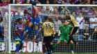 Mile Jedinak of Crystal Palace scores his team's second against  Leicester City at Selhurst Park. Photograph:  Mike Hewitt/Getty Images