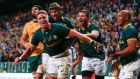 Jean de Villiers from South Africa celebrates scoring a try in  their Rugby Championship match against  Australia at the Newlands stadium in Cape Town. Photograph: Nic Bothma / EPA