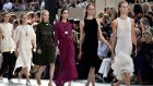 Models walk the runway during the Celine show as part of the Paris Fashion Week Womenswear Spring/Summer 2015 yesterday. Photograph: Pascal Le Segretain/Getty Images