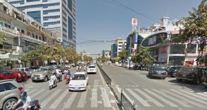Local media reports  say the Irish man was walking his bicycle across Monivong Boulevard in Phnom Penh, Cambodia early yesterday when he was struck. File photograph: Google Street View