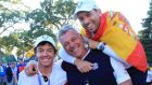 Rory McIlroy, Darren Clarke and Sergio Garcia celebrate after Europe defeated the US for the 39th Ryder Cup at Medinah Illinois in 2012. Clarke is being tipped to lead next Europe team in US in 2016. Photograph: David Cannon