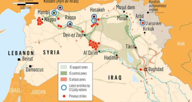 US Kurds Strike At Islamic State In Syria Overnight - Map of area that us forces control in syria