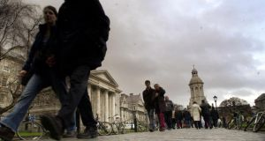 "Trinity College Dublin. Photograph: Dara Mac Donaill UCD's plummeting down the Times Higher Education (THE) league table, one of the ""holy trinity"" of international rankings, will hurt it particularly.  Photograph: Dara Mac Donaill/The Irish Times"