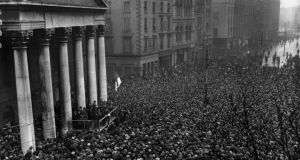 Michael Collins addresses a Dublin crowd at College Green after signing the Treaty establishing the Free State in 1922.  Photograph: Hulton Archive